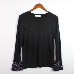 Michael Kors Black Top Size M Studded Cuff Shirt